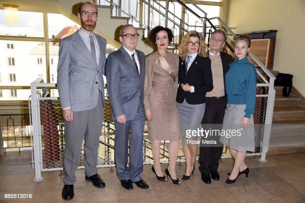 Niels Bormann Sylvester Groth Anke Engelke Uwe Preuss Maria Schrader and Sonja Gerhardt during a set photo call for the TV series 'Deutschland86' on...