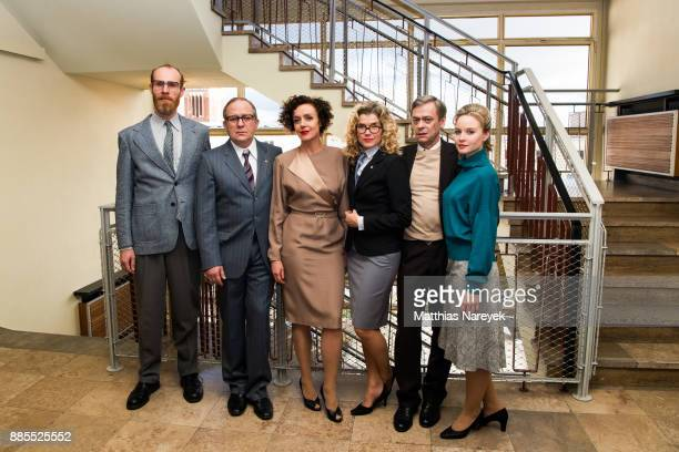 Niels Bormann Sylvester Groth Anke Engelke Uwe Preuss Maria Schrader and Sonja Gerhardt attend the 'Deutschland 86' photo call at Stasimuseum on...