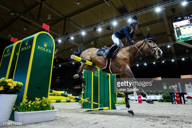 Niels Bruynseels rides Gancia de Muze during the The Dutch Masters: Rolex Grand Slam of Showjumping at Brabanthallen on March 17, 2019 in...