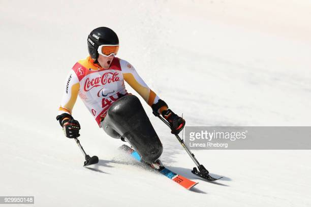Niels de Langen of Netherlands reacts during his run in Men's Downhill Sitting during day one of the PyeongChang 2018 Paralympic Games on March 10...