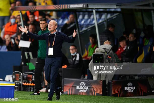 Niels Frederiksen, head coach of Brondby IF in action during the UEFA Europa League match between Brondby IF and AC Sparta Praha at Brondby Stadion...