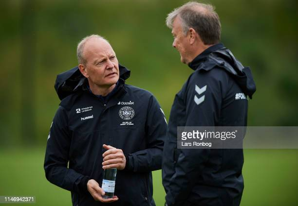 Niels Frederiksen head coach of Under21 talking to Age Hareide head coach of Denmark during the Denmark training session at Brondby Stadion on May 30...