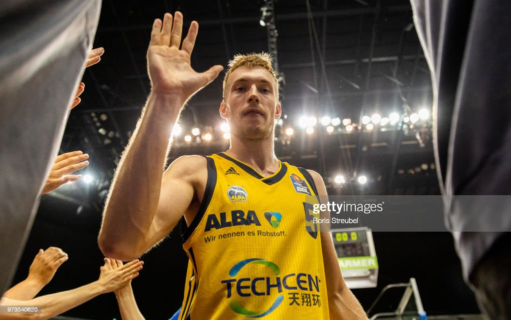 Niels Giffey of ALBA Berlin celebrates after winning the fourth play-off game of the German Basketball Bundesliga finals at Mercedes-Benz Arena on June 13, 2018 in Berlin, Germany.