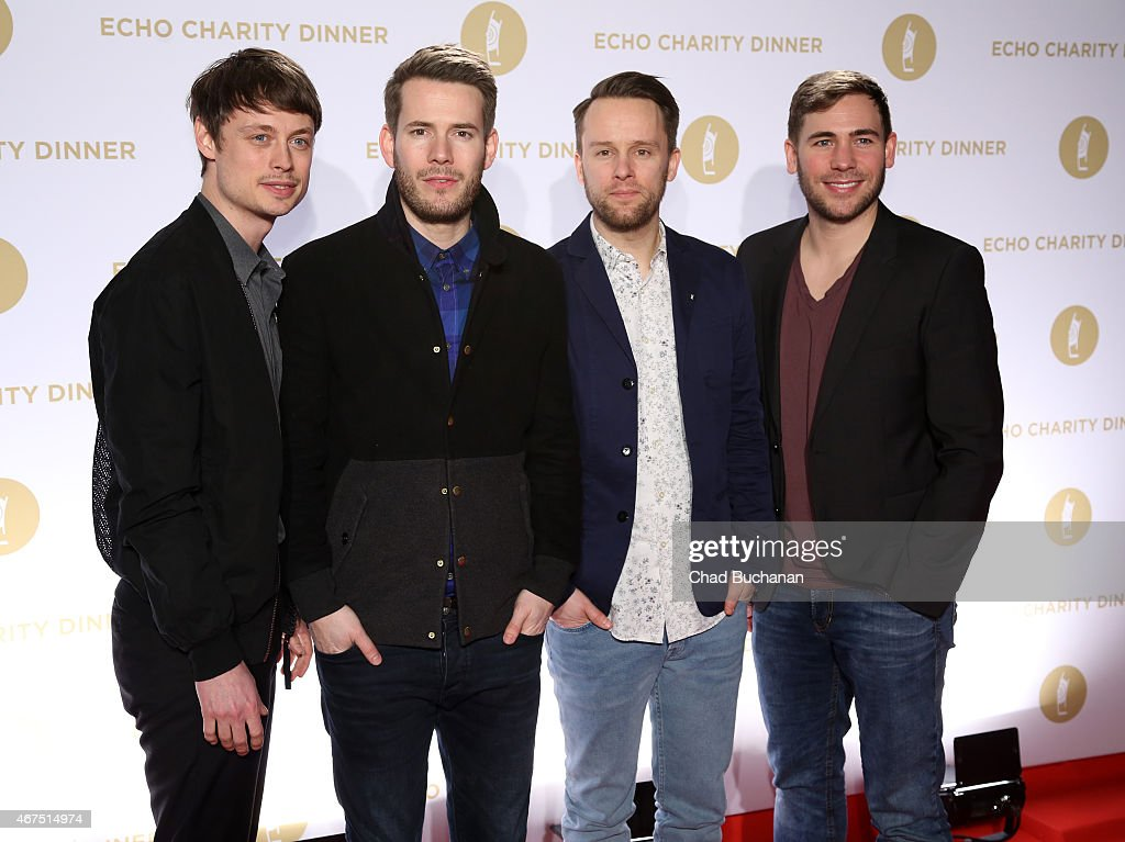 Niels Grotsch, Johannes Strate, Jakob Sinn and Kristoffer Hunecke of the band Revolverheld attend the Echo Award 2015 Charity Dinner at Grill Royal on March 25, 2015 in Berlin, Germany.