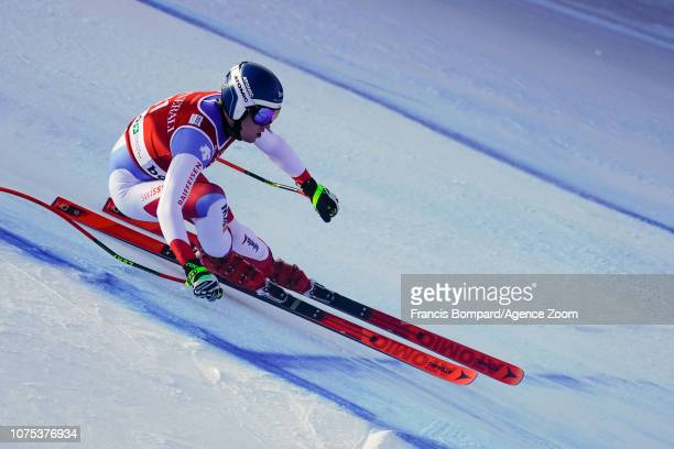 Niels Hintermann competes during the Audi FIS Alpine Ski World Cup Men's Downhill on December 28, 2018 in Bormio Italy.