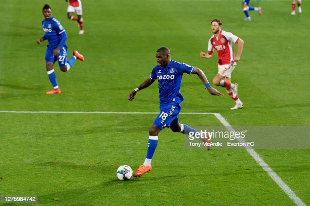 September 23: Niels Nkounkou during the Carabao Cup Third Round match between Fleetwood Town and Everton at Highbury Stadium on September 23 2020 in...