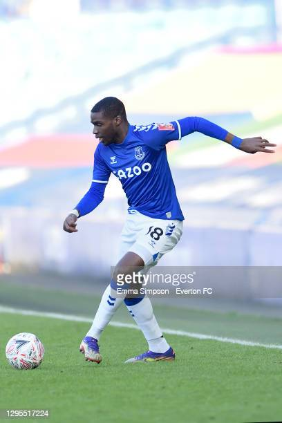 Niels Nkounkou of Everton during the FA Cup Third Round match between Everton and Rotherham United at Goodison Park on January 9 2021 in Liverpool,...