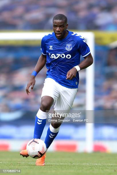 Niels Nkounkou of Everton during the PreSeason Friendly match between Everton and Preston North End at Goodison Park on September 5 2020 in Liverpool...