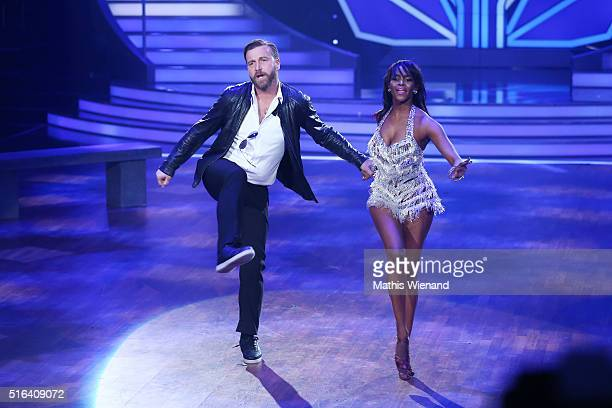 Niels Ruf and Oti Mabuse perform on stage during the 2nd show of the television competition 'Let's Dance' on March 18 2016 in Cologne Germany