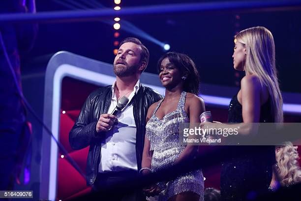 Niels Ruf Oti Mabuse and Sylvie Meis are seen on stage during the 2nd show of the television competition 'Let's Dance' on March 18 2016 in Cologne...