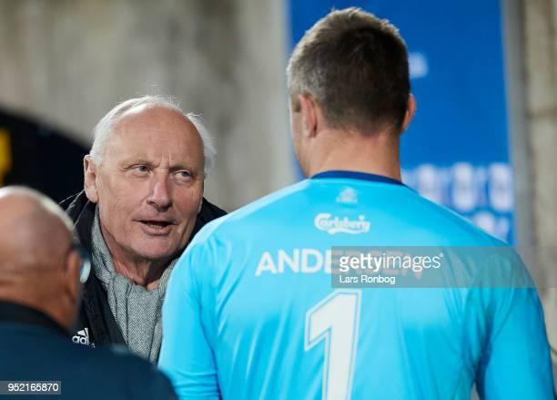 NielsChristian Holmstrom board member of FC Copenhagen with Goalkeeper Stephan Andersen of FC Copenhagen after the Danish Alka Superliga match...