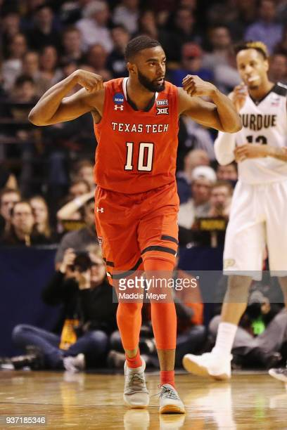 Niem Stevenson of the Texas Tech Red Raiders reacts during the first half against the Purdue Boilermakers in the 2018 NCAA Men's Basketball...