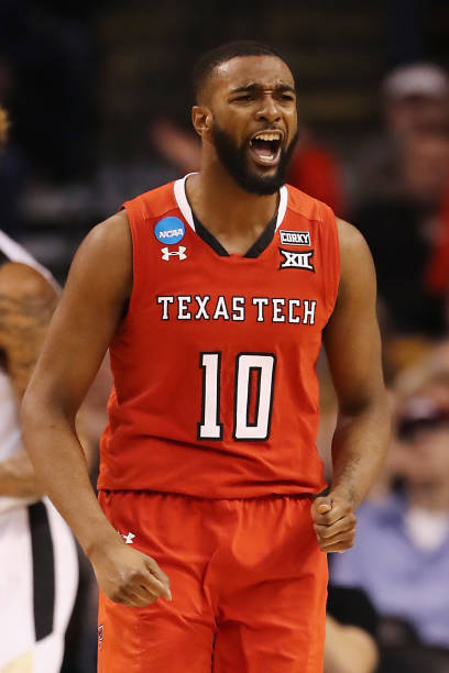 Niem Stevenson of the Texas Tech Red Raiders reacts during the second half against the Purdue Boilermakers in the 2018 NCAA Men's Basketball...
