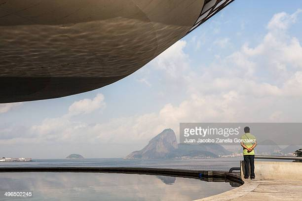 Niemeyer Museum of Modern Art. The city of Rio de Janeiro in the distance.
