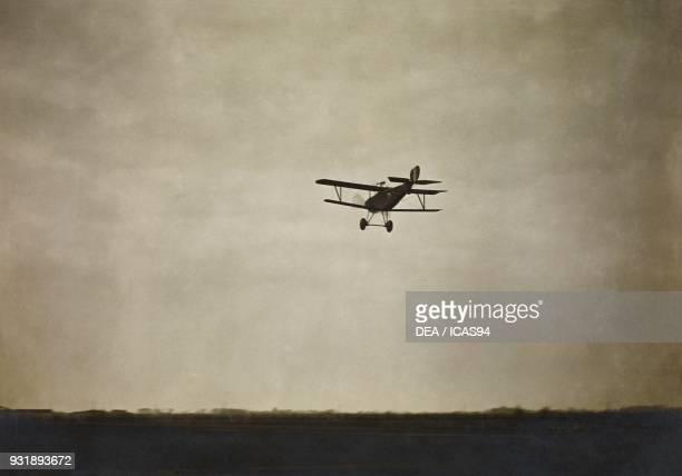 Nieuport 17 biplane in flight, World War I, Italy, 20th century.