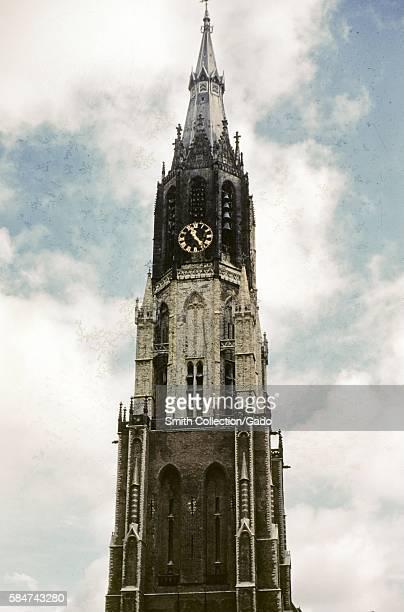 Nieuwe Kerk clock tower in Delft Netherlands 1952