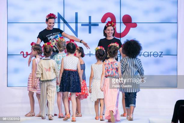 Nieves Alvarez and Belen Villalobos walk the runway at the NV fashion show during the FIMI Kids Fashion Week on June 22 2018 in Madrid Spain