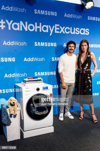 Nieves Alvarez and Hugo Silva present Samsung Adwash at Neptuno Palace on June 8 2017 in Madrid Spain