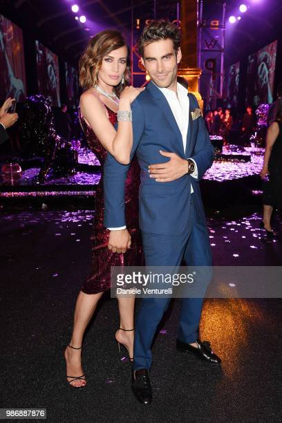 Nieves Alvarez and Jon Kortajarena attend BVLGARI Dinner Party at Stadio dei Marmi on June 28 2018 in Rome Italy