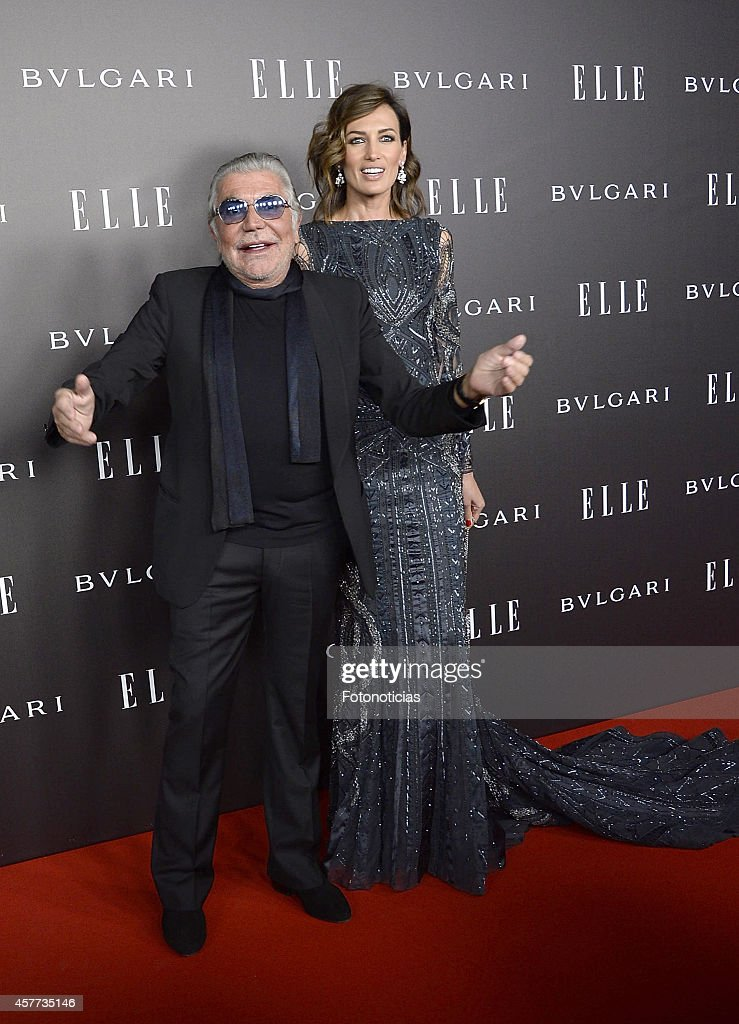 Nieves Alvarez (R) and Roberto Cavalli attend the Elle Style Awards party at the Italian Embassy on October 23, 2014 in Madrid, Spain.
