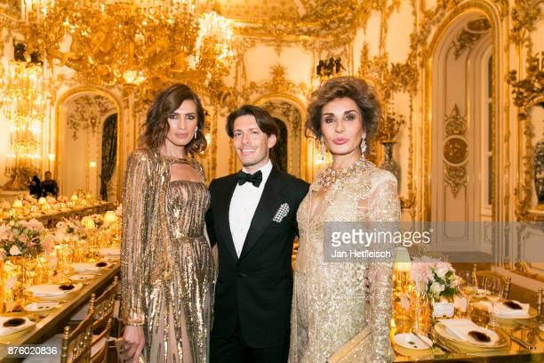 Nieves Alvarez Edgardo Osorio and Naty Abascal attend the Aquazzura x Mytheresacom dinner at Palais Liechtenstein on November 18 2017 in Vienna...