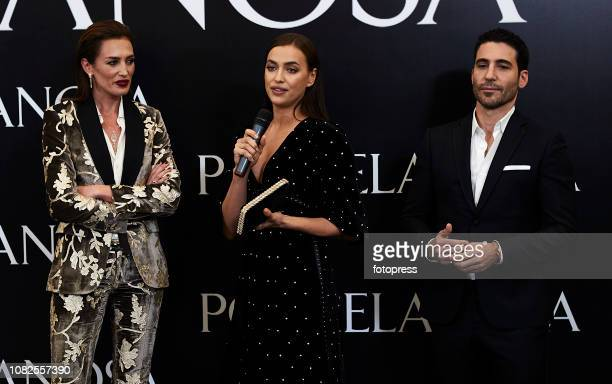 Nieves Alvarez, Irina Shayk and Miguel Angel Silvestre during the opening of the new Porcelanosa store on December 14, 2018 in Castellon de la Plana,...