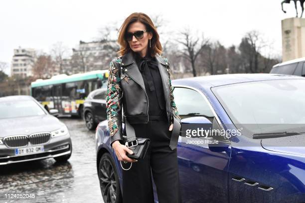Nieves Alvarez is seen arriving at Elie Saab during Paris Fashion Week Haute Couture Spring Summer 2020 on January 23 2019 in Paris France