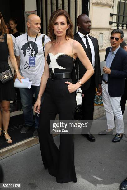 Nieves Alvarez is seen arriving at Elie Saab fashion show during the Paris Fashion Week Haute Couture Fall/Winter 20172018 on July 5 2017 in Paris...
