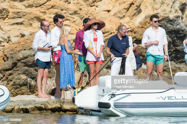 Nieves Alvarez is seen leaving a restaurant and taking a boat on August 5 2018 in Ibiza Spain