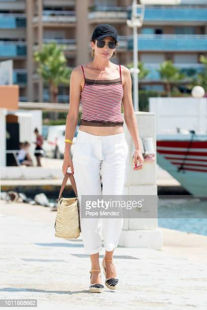 Nieves Alvarez is seen walking at the port of Ibiza on August 5 2018 in Ibiza Spain