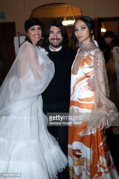 Nieves Alvarez Stylist Stephane Rolland and Miss Yolanda aka Yolanda Wang attend the Stephane Rolland Haute Couture Spring Summer 2019 show as part...
