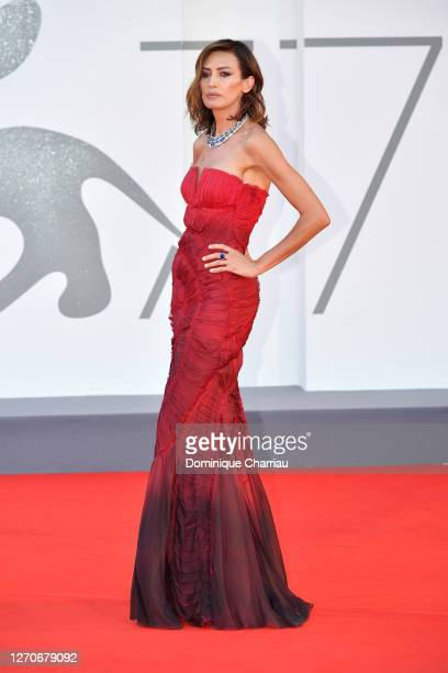 """Nieves Alvarez walks the red carpet ahead of the movie """"Padrenostro"""" at the 77th Venice Film Festival at on September 04, 2020 in Venice, Italy."""