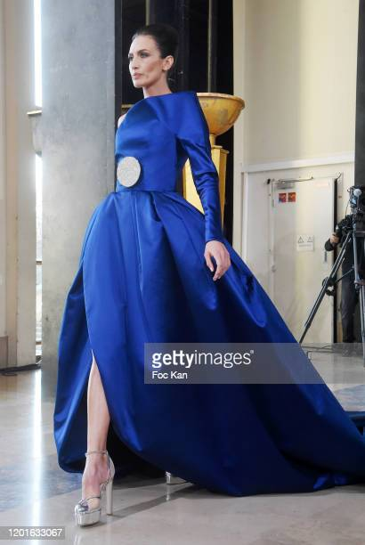 Nieves Alvarez walks the runway during the Stephane Rolland Haute Couture Spring/Summer 2020 show as part of Paris Fashion Week on January 21, 2020...