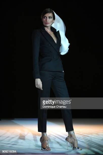 Nieves Alvarez walks the runway during the Stephane Rolland Haute Couture Spring Summer 2018 show as part of Paris Fashion Week on January 23 2018 in...