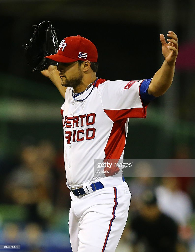 Nieves Efrain #55 of Puerto Rico celebrates a 3-0 win against Spain during the first round of the World Baseball Classic at Hiram Bithorn Stadium on March 8, 2013 in San Juan, Puerto Rico.