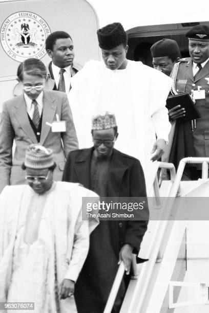 Nigeira's head of state Ibrahim Babangida is seen on arrival ahead of the Funeral of late Emperor Hirohito at Haneda Airport on February 23, 1989 in...