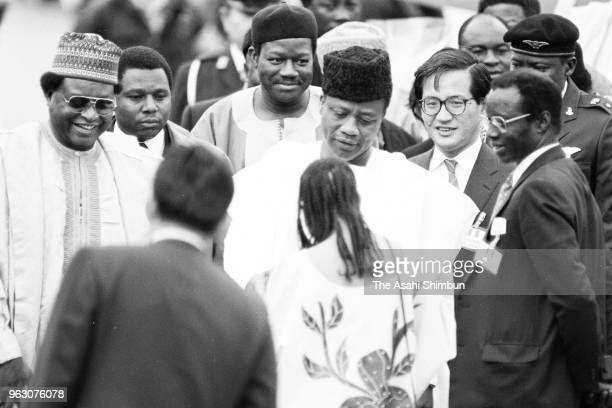 Nigeira's head of state Ibrahim Babangida is seen on arrival ahead of the Funeral of late Emperor Hirohito at Haneda Airport on February 23 1989 in...