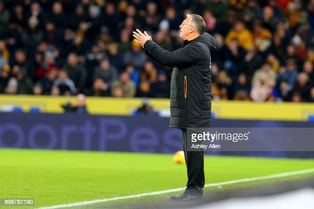 Nigel Adkins manager of Hull City during the Sky Bet Championship match between Hull City and Derby County at KCOM Stadium on December 26 2017 in...