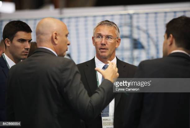 Nigel Adkins talks to delegates during day 2 of the Soccerex Global Convention at Manchester Central Convention Complex on September 5 2017 in...