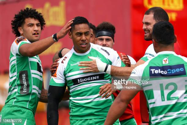Nigel Ah Wong of Manawatu celebrates with teammates after scoring a try during the round 8 Mitre 10 Cup match between Manawatu and Southland at...