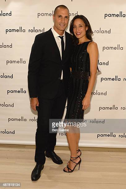 Nigel Barker and Cristen Barker pose backstage at the Pamella Roland Spring 2016 fashion show at The Whitney Museum of American Art on September 11...