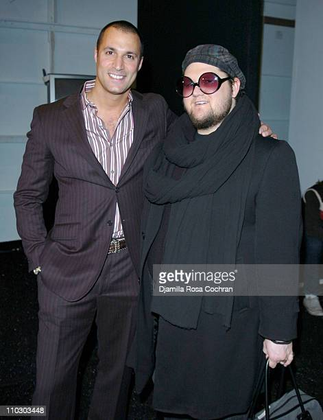 Nigel Barker and Jay McCarroll during MercedesBenz Fashion Week Fall 2007 Perry Ellis Front Row and Backstage at The Promanade Bryant Park in New...