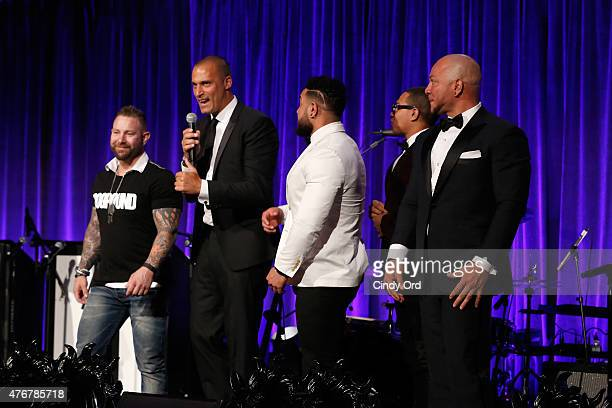 Nigel Barker and members of the Dog Pound onstage during An Evening Of Wishes Annual Gala Benefiting MakeAWish Metro New York on June 11 2015 in New...