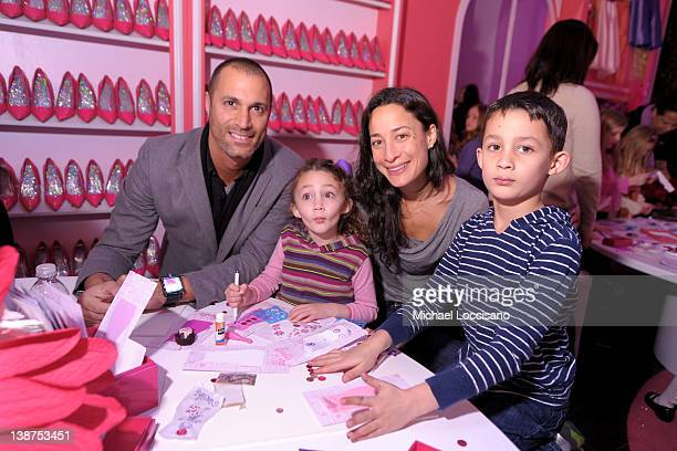 Nigel Barker and model Cristen Barker pose with their children Jasmine Ines Barker and Jack Barker during Barbie The Dream Closet Playdate Saturday...