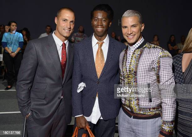 Nigel Barker J Alexander and Jay Manuel attend the Pamella Roland fashion show during MercedesBenz Fashion Week Spring 2014 at The Studio at Lincoln...
