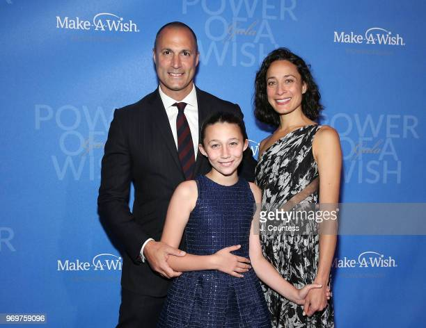 Nigel Barker Jasmine Ines Barker and Cristen Barker attend the 35th Anniversary MakeAWish Metro New York Gala at Cipriani Wall Street on June 7 2018...