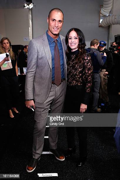 Nigel Barker poses with designer Jill Stuart backstage at the Jill Stuart Fall 2013 fashion show during MercedesBenz Fashion Week at The Stage at...