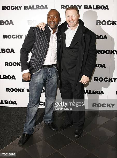 Nigel Benn and Steve Collins arrive for the premiere of 'Rocky Balboa' at the Vue West End on January 16 2007 in London England