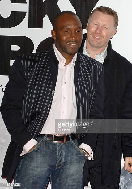 Nigel Benn and Steve Collins during 'Rocky Balboa' London Premiere Red Carpet at Vue in London Great Britain