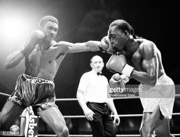 Nigel Benn of Great Britain enroute to losing the Commonwealth middleweight boxing title to Michael Watson of Great Britain by a knock out in the...